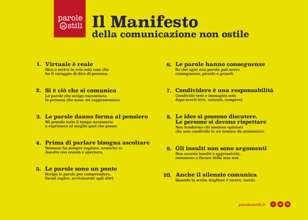 Internet e social: adesione al manifesto della comunicazione non ostile