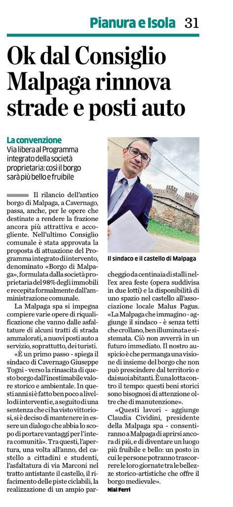 Borgo di Malpaga: nuovi impegni e nuove prospettive